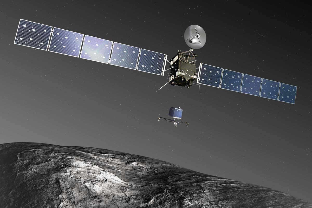 Artist's concept of Rosetta deploying the Philae lander