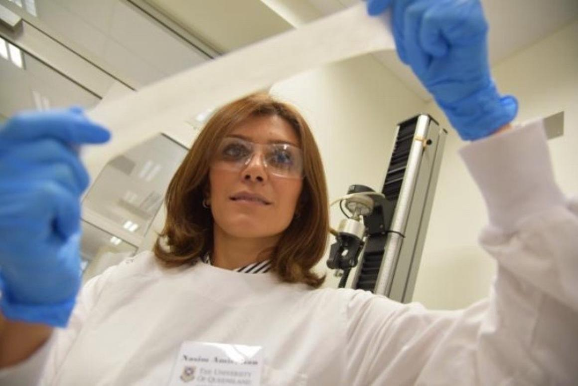 Dr. Nasim Amiralian with a sample of the latex