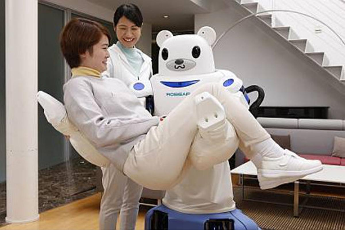 Robear is designed to safely lift patients out of bed