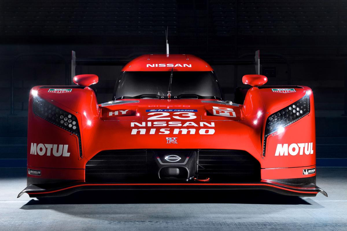 A close-up front view of the GT-R LM Nismo