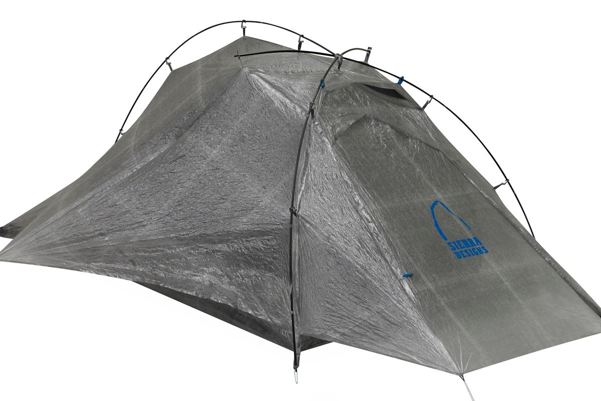 A cuben fiber shell and carbon fiber poles make the Sierra Designs Mojo UFO one of the lightest tents ever
