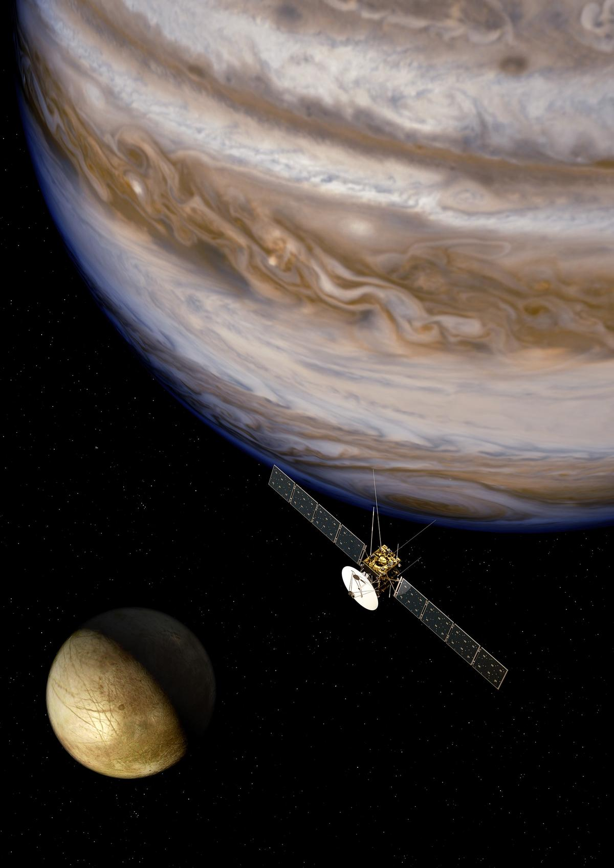 Artist's concept of JUICE orbiting Jupiter (Image: ESA)