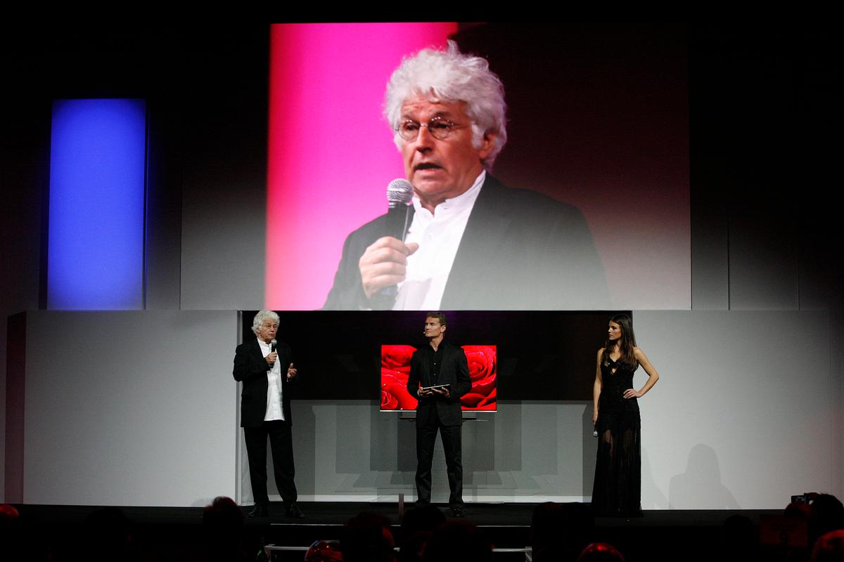 Film director Jean-Jacques Annaud speaking at the unveiling of LG's 55-inch OLED TV