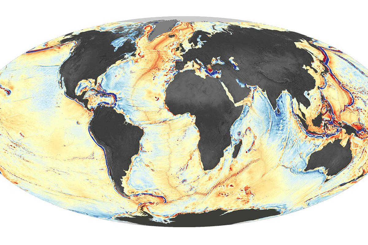 The map derived from gravimetric readings is already producing new insights into the ocean floor