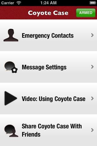 A screenshot of the Coyote Case's app