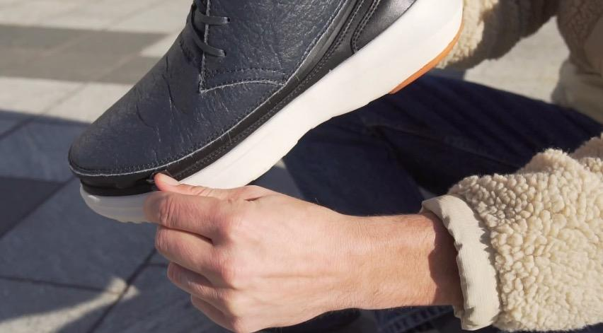 """Eco-friendly shoes combine """"base"""" soles with zip-on uppers"""