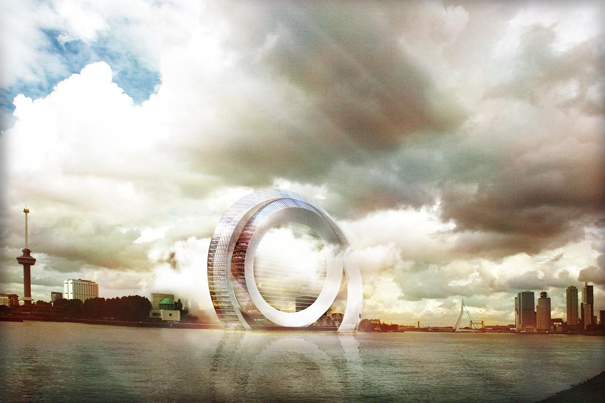 The Dutch Windwheel concept is a mixed-use development comprising two rings, one of which uses an electrostatic wind energy convertor to generate electricity