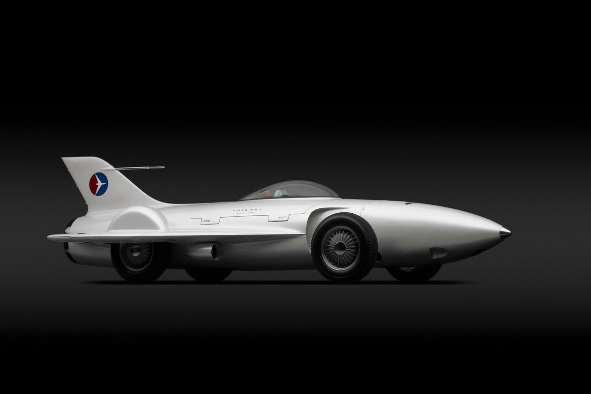 "GM's rocket on wheels, the Firebird I XP-21 (1953) concept designed by Harley J. Earl, Robert F. ""Bob"" McLean was a design study to determine if gas turbine engines were practical for use in future vehicles (Photo: Michael Furman)"
