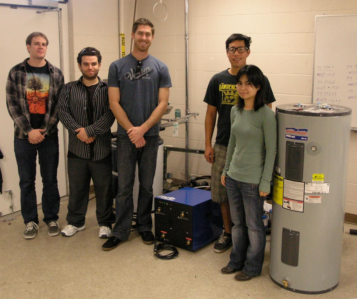 The UCSD students who tested the prototype water heater system
