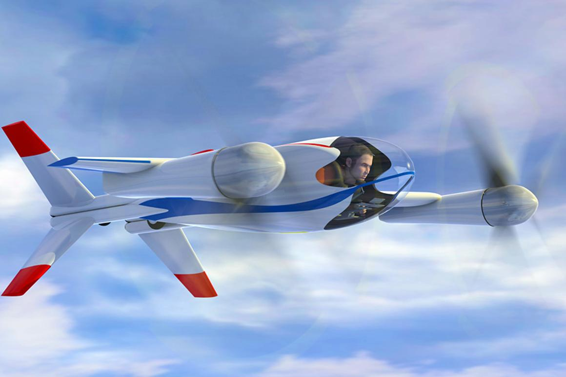 The Puffin in full flight ... electric motors deliver a top speed of around 150mph and a range of 50 miles - plenty for that daily journey to work and back! (Image: NASA)