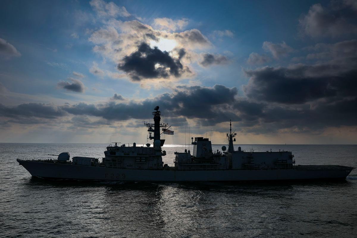 HMS Lancaster, which participated in the Formidable Shield tests that used AI against live missiles