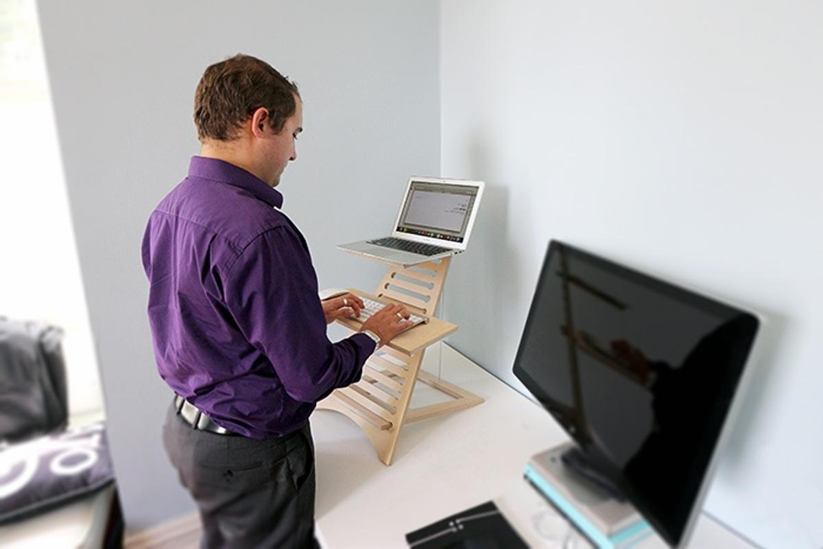 Elevate makes it possible to use any existing desktop or table surface as a standing desk surface for your laptop