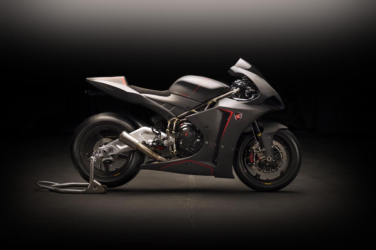Spirit GP R: 180 horsepower, 140-kg Moto2 bike for the road uses a stroked out 749cc Daytona 675 engine