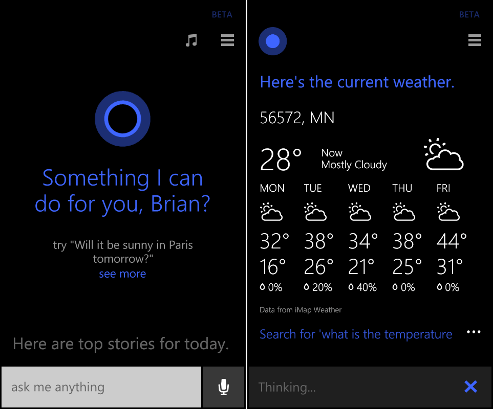 Cortana is Microsoft's Siri-like digital assistant