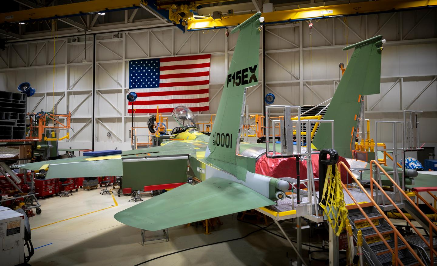 An F-15EX fighter jet under construction in St. Louis