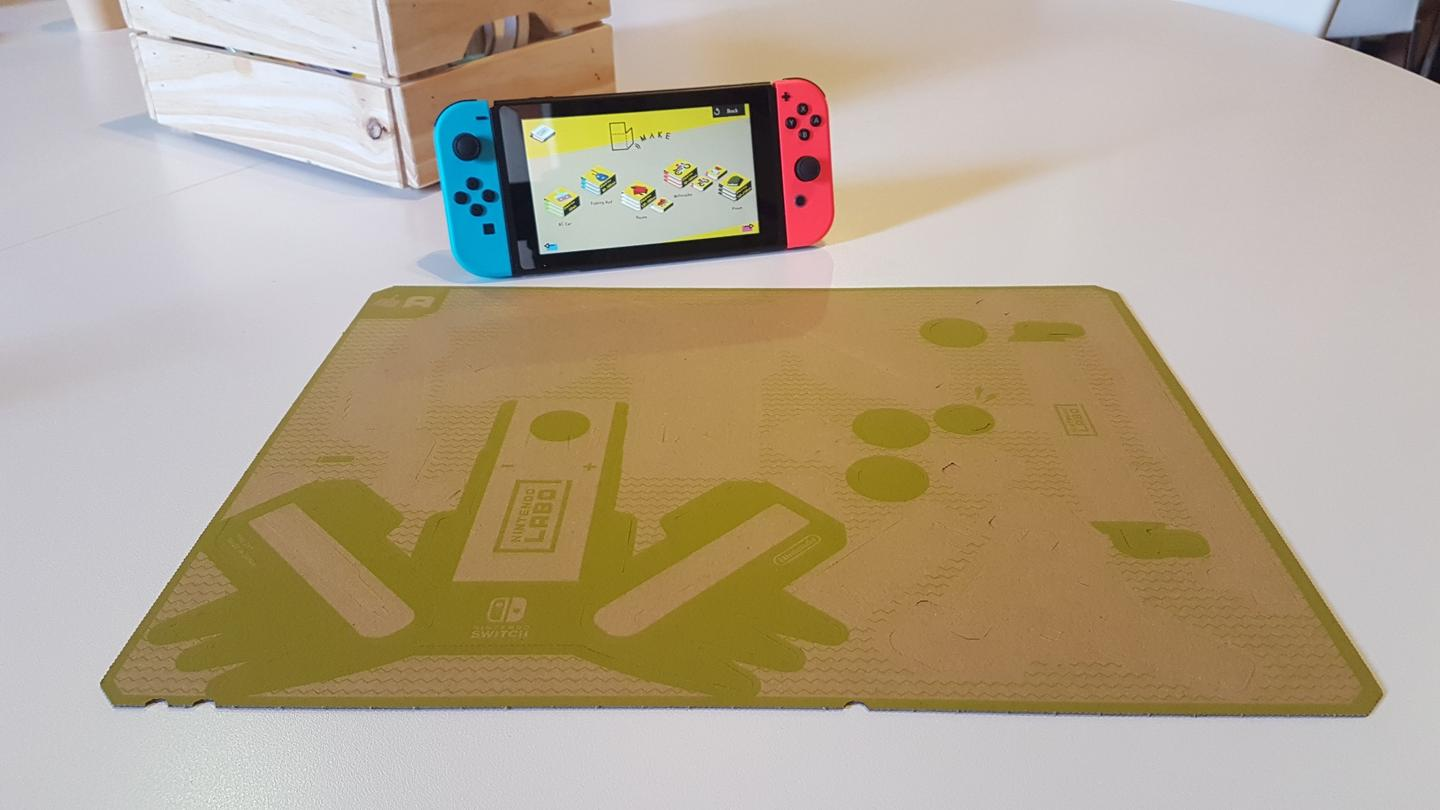 The Nintendo Labo process starts with a sheet of cardboard