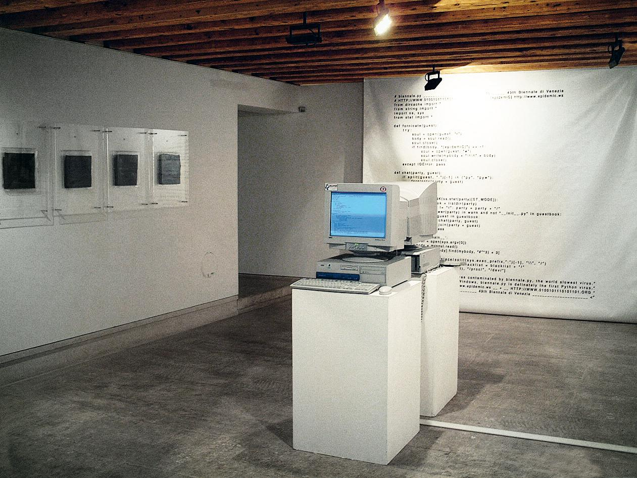 In the 49th Venice Bienniale, Eva and Franco Mattes created this work where they unleashed a computer virus on opening night – the installation incorporated two computers perpetually infecting each other with the virus on a loop