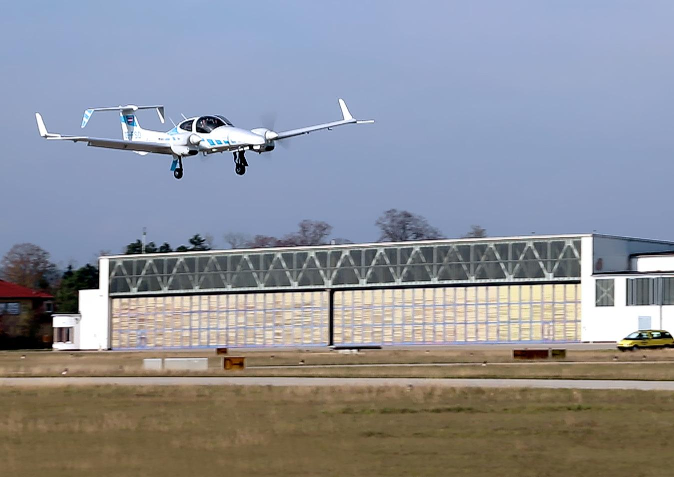 The team's modified Diamond DA42 aircraft uses the system to make an automatic landing