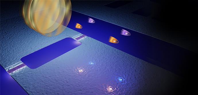 "Virtual photons bounce off a ""mirror"" that vibrates at almost the speed of light. The round mirror in the picture is a symbol, and under that is the quantum electronic component (referred to as a SQUID), which acts as a mirror. This makes real photons appear (in pairs) in vacuum. (Illustration: Philip Krantz, Chalmers)"