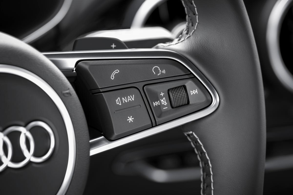 """The TT's """"virtual cockpit"""" is controlled by wheel mounted buttons, combined with Audi's rotary MMI dial"""