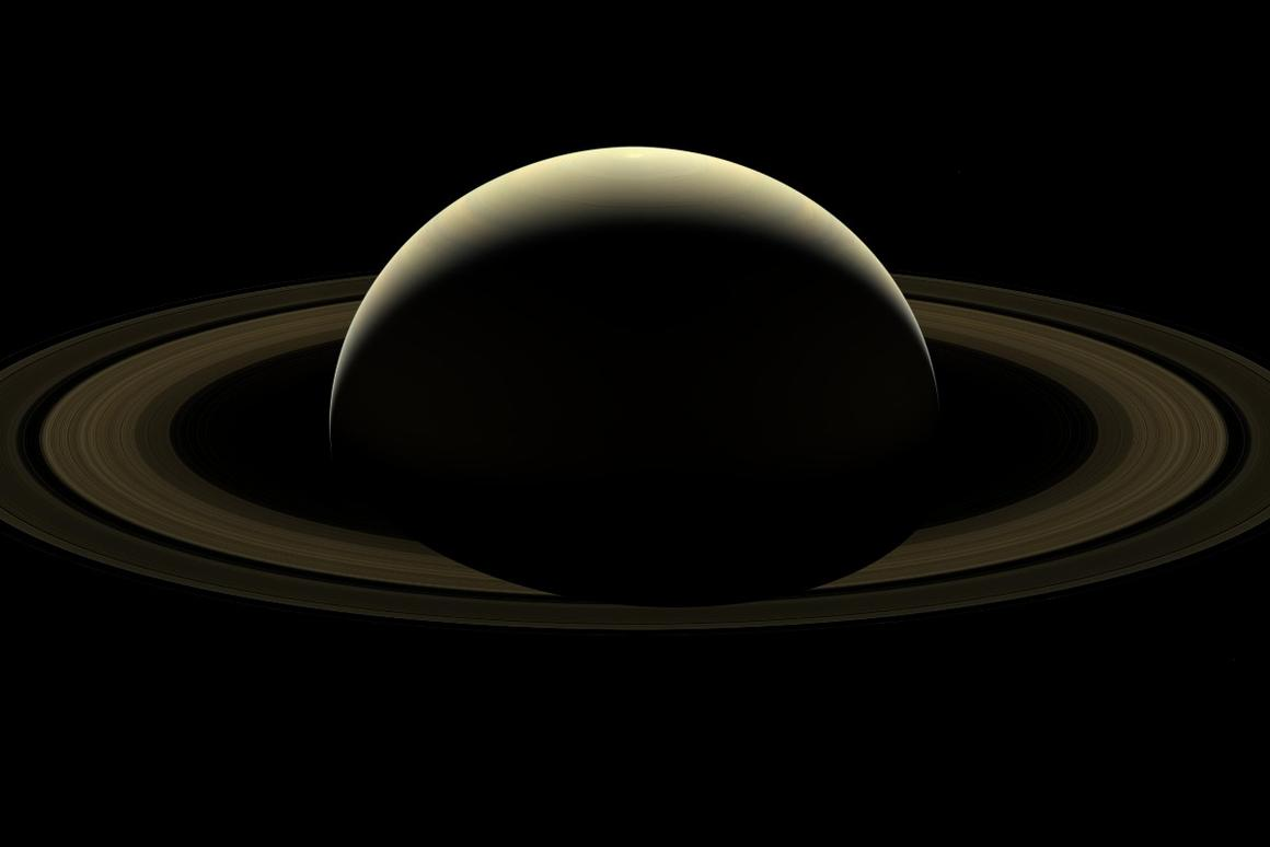 A mosaic of Saturn, its rings, and six of its moons constructed from 80 images captured by Cassini just two days prior to the end of its marathon mission