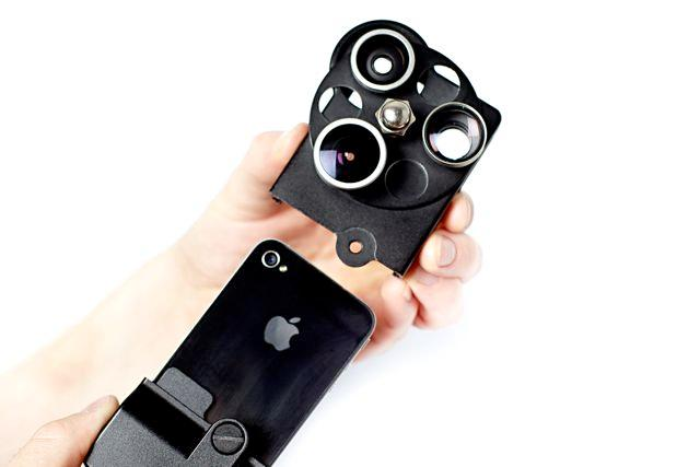 The iPhone Lens Dial features wide angle, fisheye and telephoto lenses, which swivel into place over top of the existing camera's lens