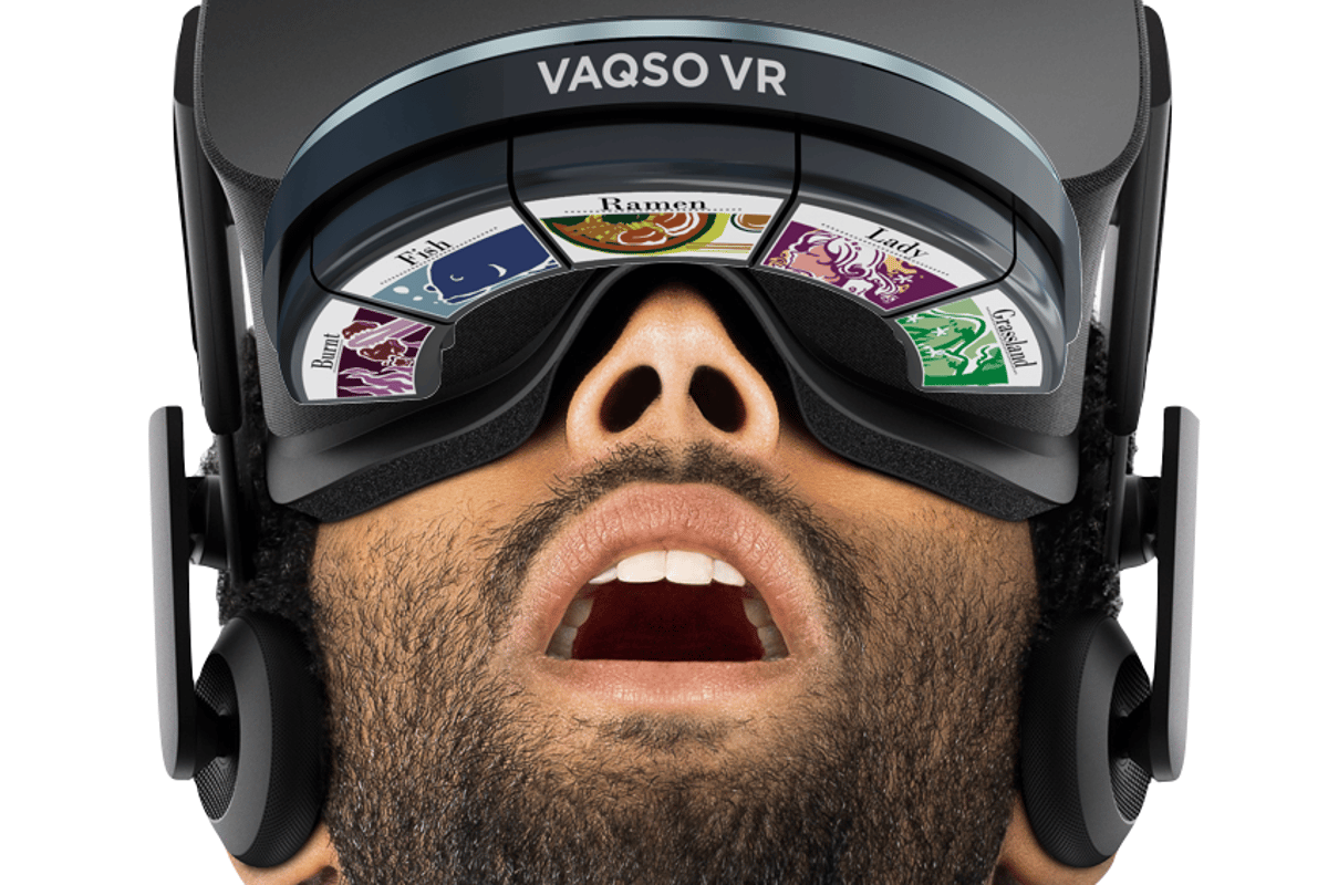 The main Vaqso device is attached to the user's head via an adjustable velcro strap, and it communicates with their VR headset