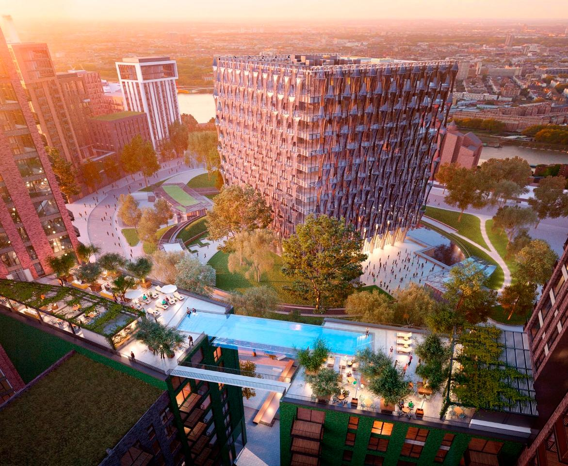 The sky pool will meaure 25 m (82 ft) long, 5 m (16 ft) wide and 3 m (10 ft) deep and will span the two buildings at the 10th storey