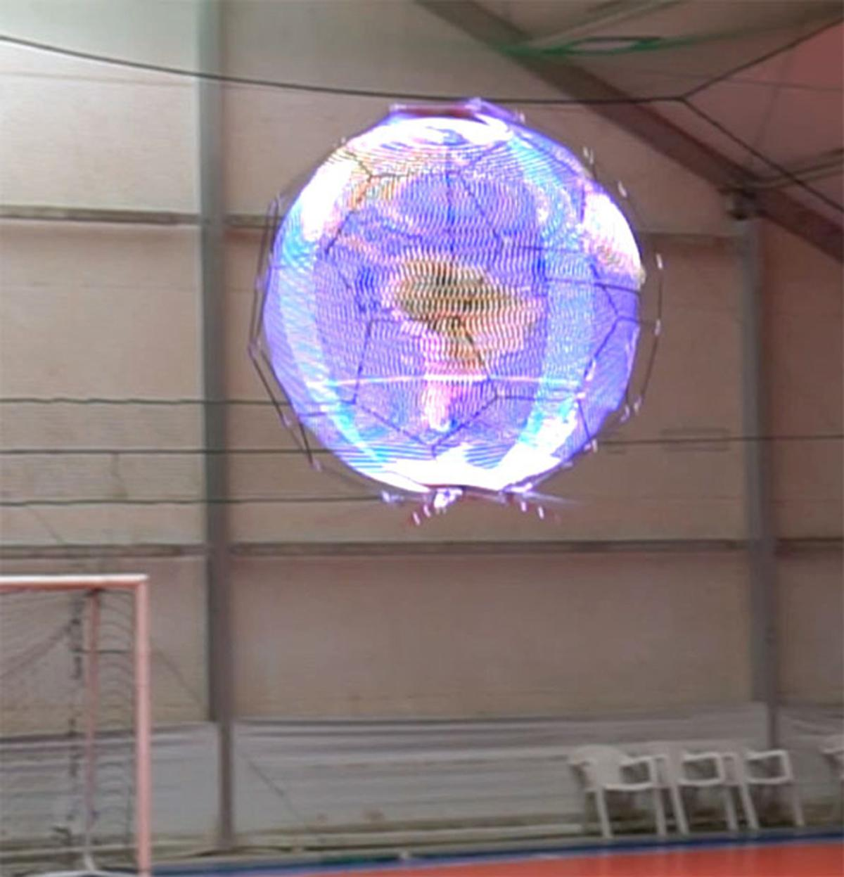 NTT Docomo'sspherical drone display forms an aerial display measuring 144 pixels high and 136 pixels in circumference