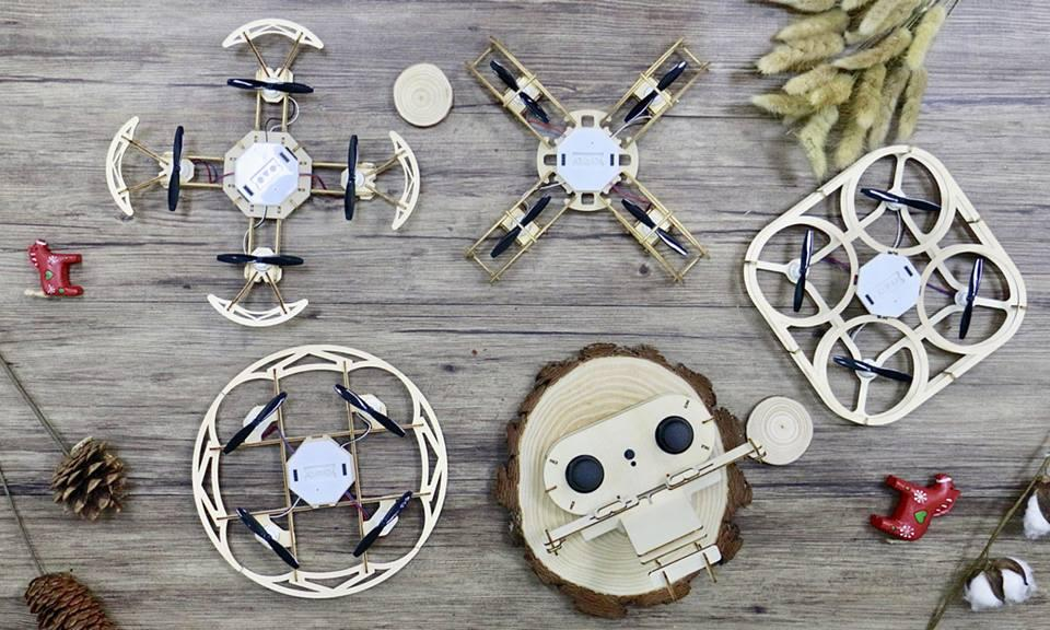 The Aerowood 4-in-1 kit allows users to build four types of wooden drones