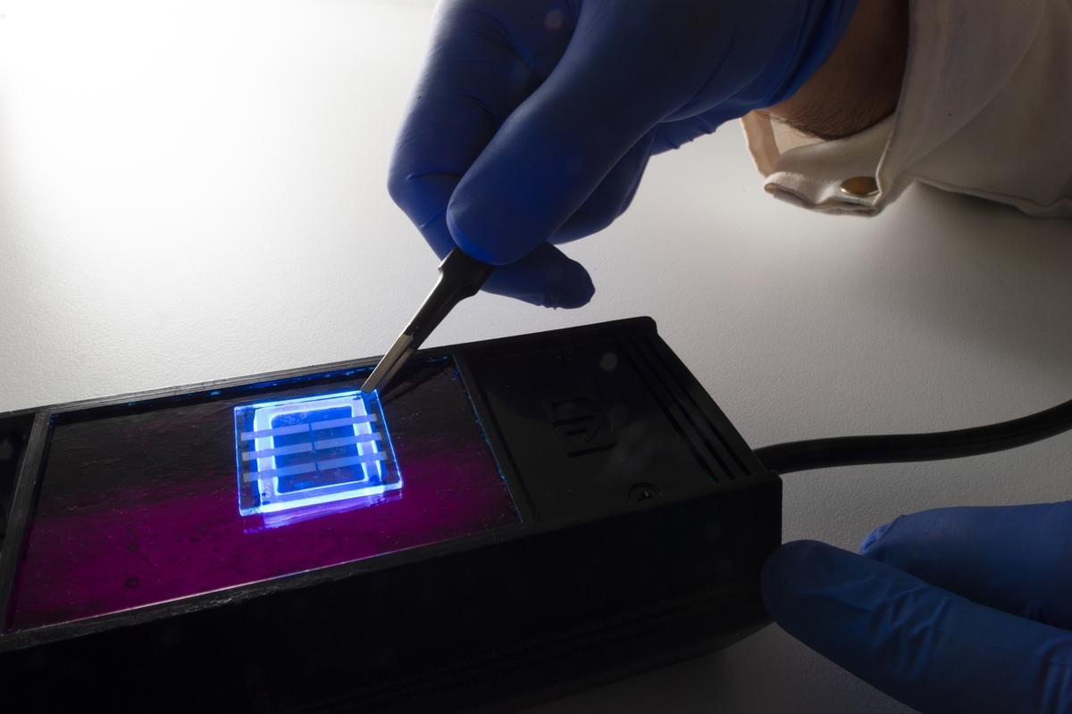 This OLED device was made using human hair