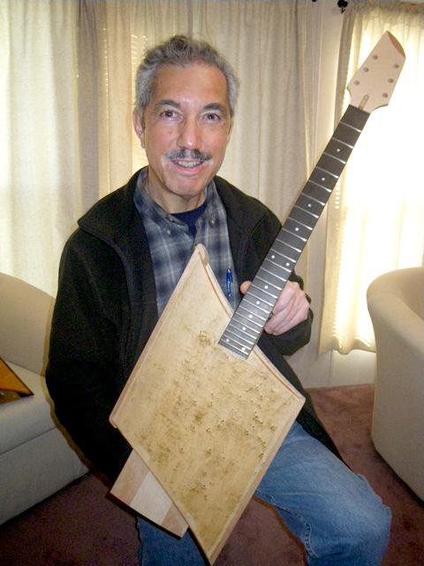 Hector Trevino with a bare-bones version of his Sonic Wind guitar
