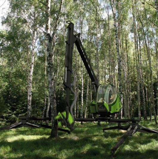 Making strides: this concept tree harvester can take 8-meter steps and functions on marshy ground and inclines of up to 36 percent