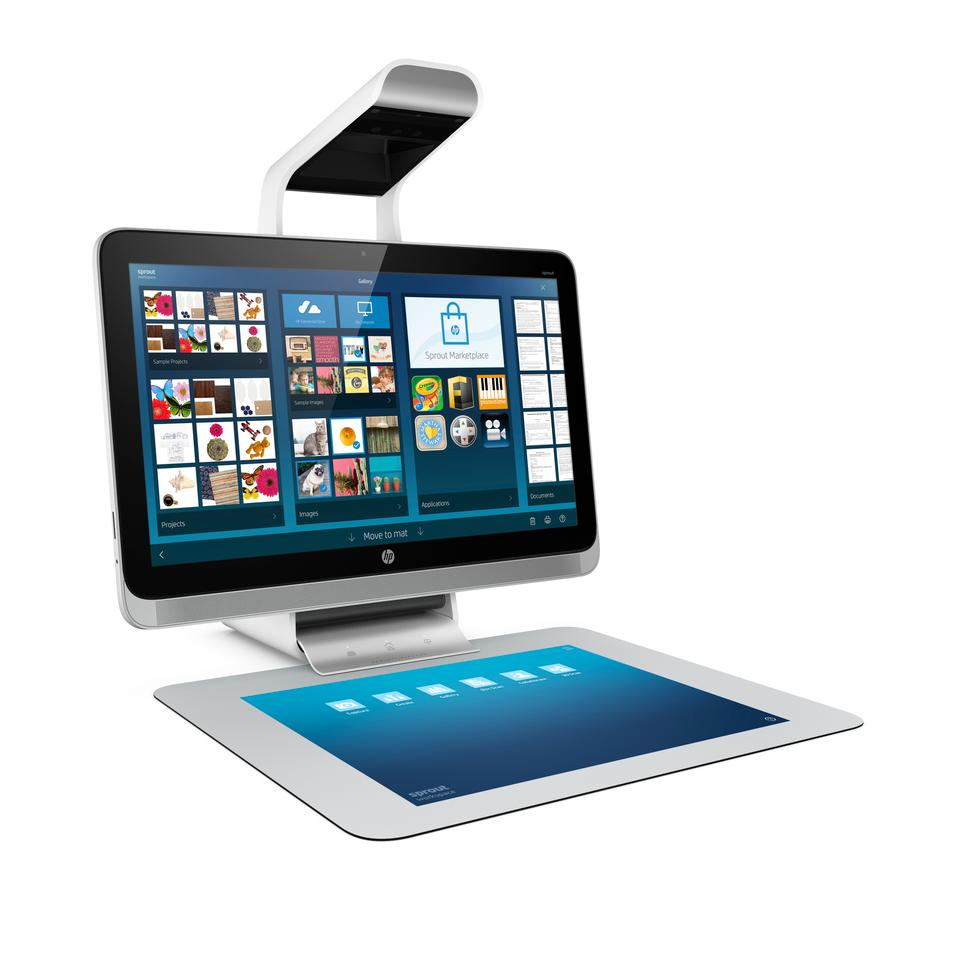 Sitting above Sprout's 23-inch LED backlit touchscreen HD display is a combined four camera sensor system, a DLP projector and LED desk lamp combination called the Illuminator