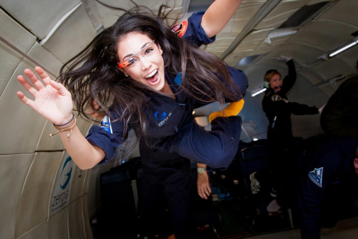 Researcher Kellie Gerardi aboard an earlier parabolic flight