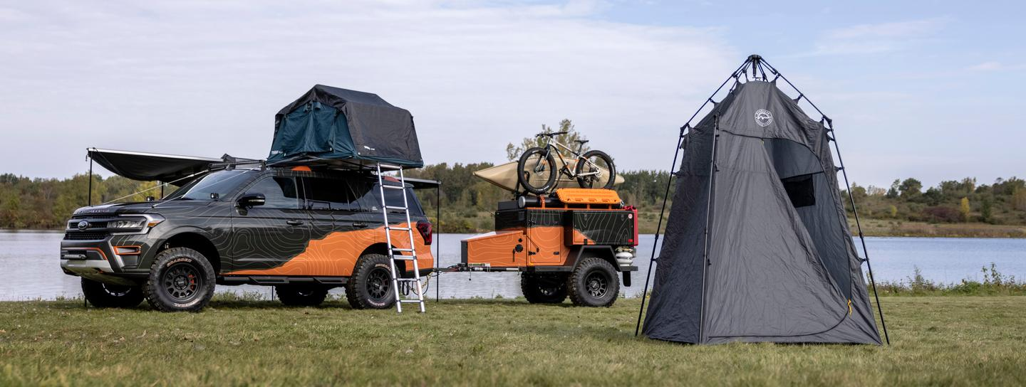Ford packages in a pop-up Wild Land tent for showering, changing or portable toilet use