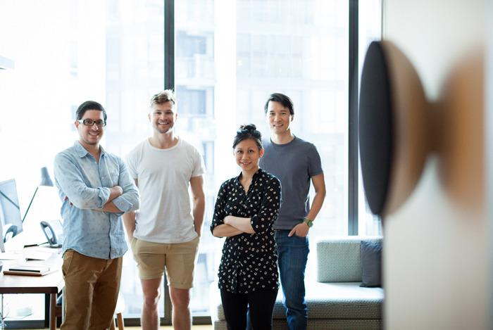 The Studio Proper design team with its latest creation, the PA1 Bluetooth speaker