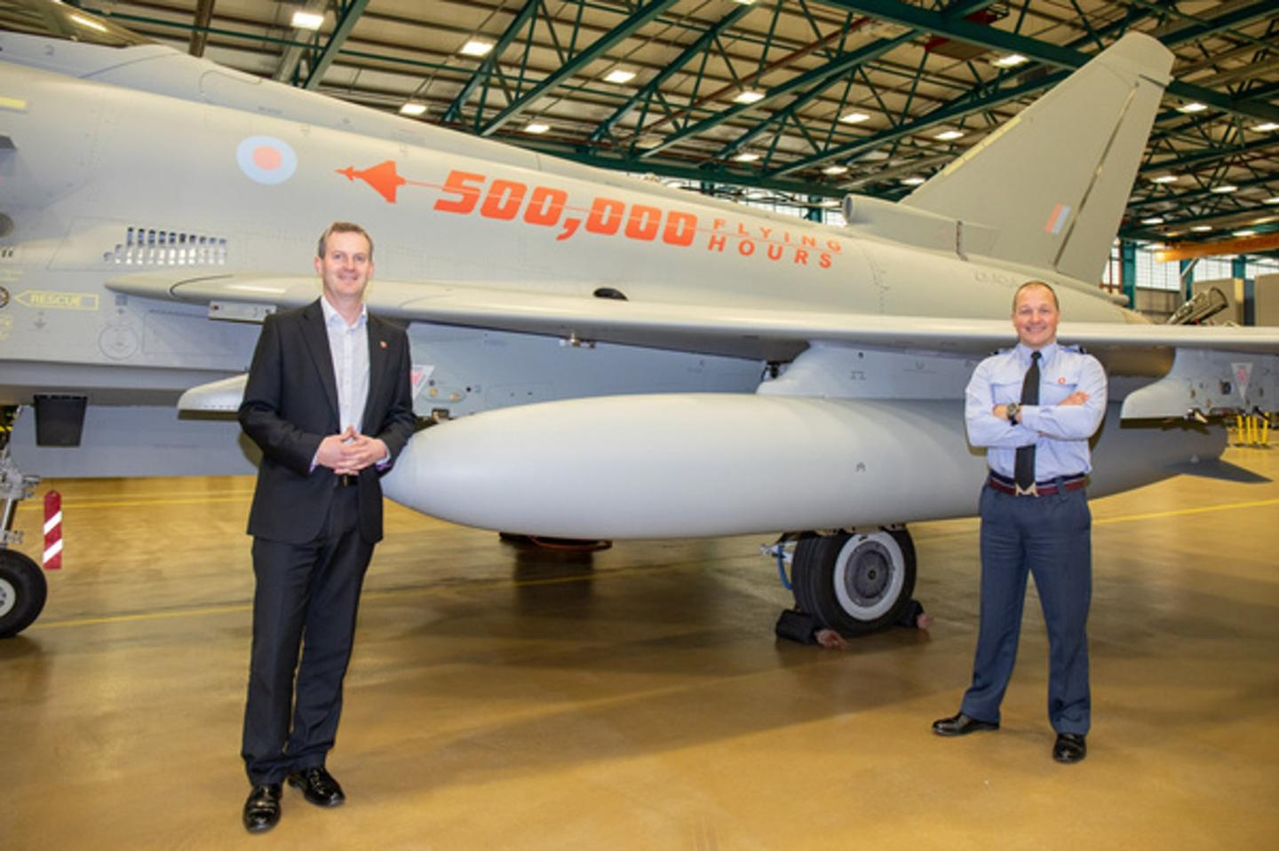 Royal Air Force Typhoon Force Commander, Air Commodore Mark Chappell and Typhoon Support Delivery Director Richard Hamilton, in the Typhoon Maintenance Facility RAF Coningsby