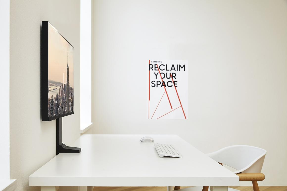 Samsung's Space Monitor can be moved back to sitflushagainst a wall
