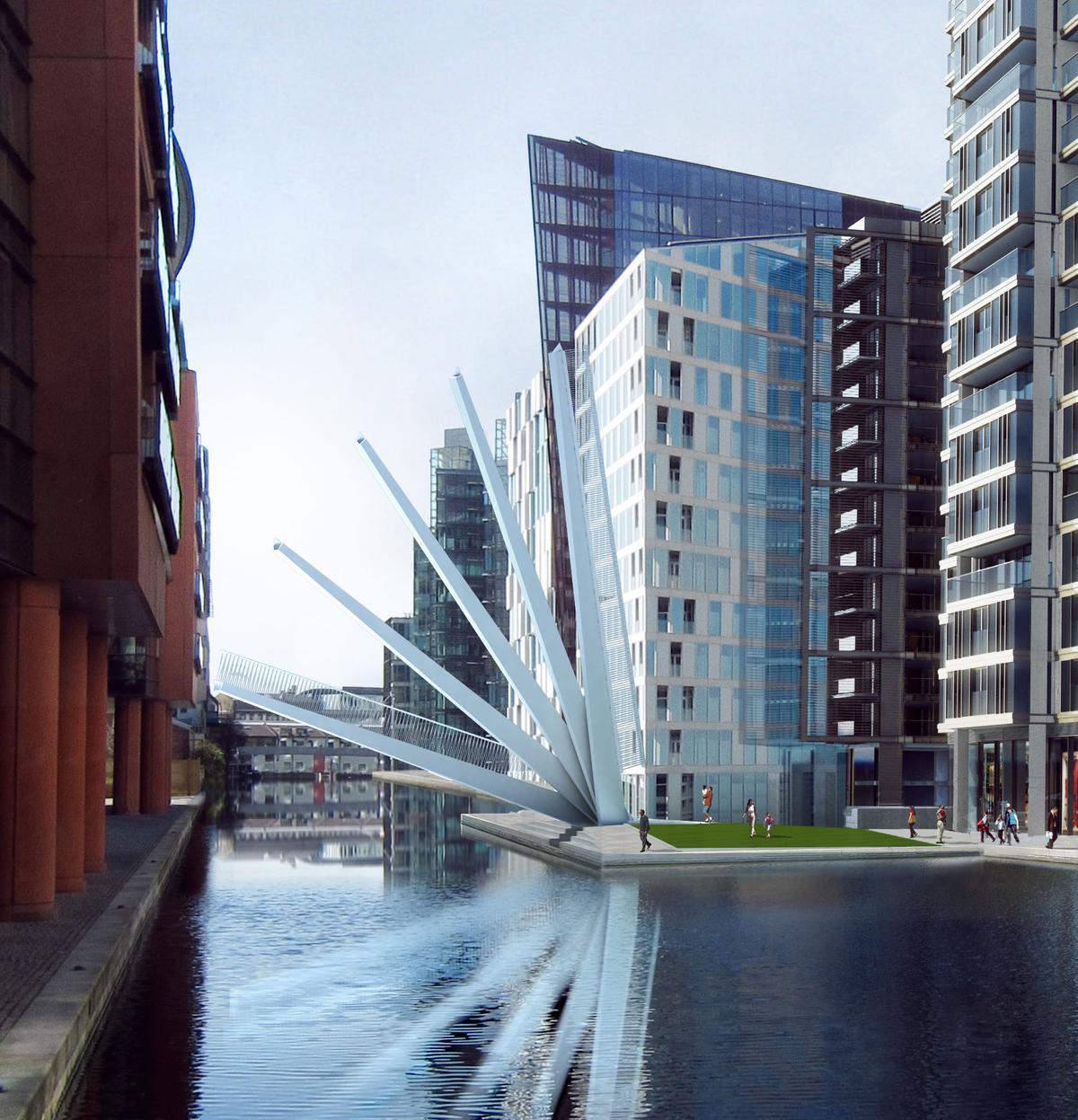 Knight Architects' Merchant Square Bridge raises like a traditional Japanese fan (Image: Knight Architects)