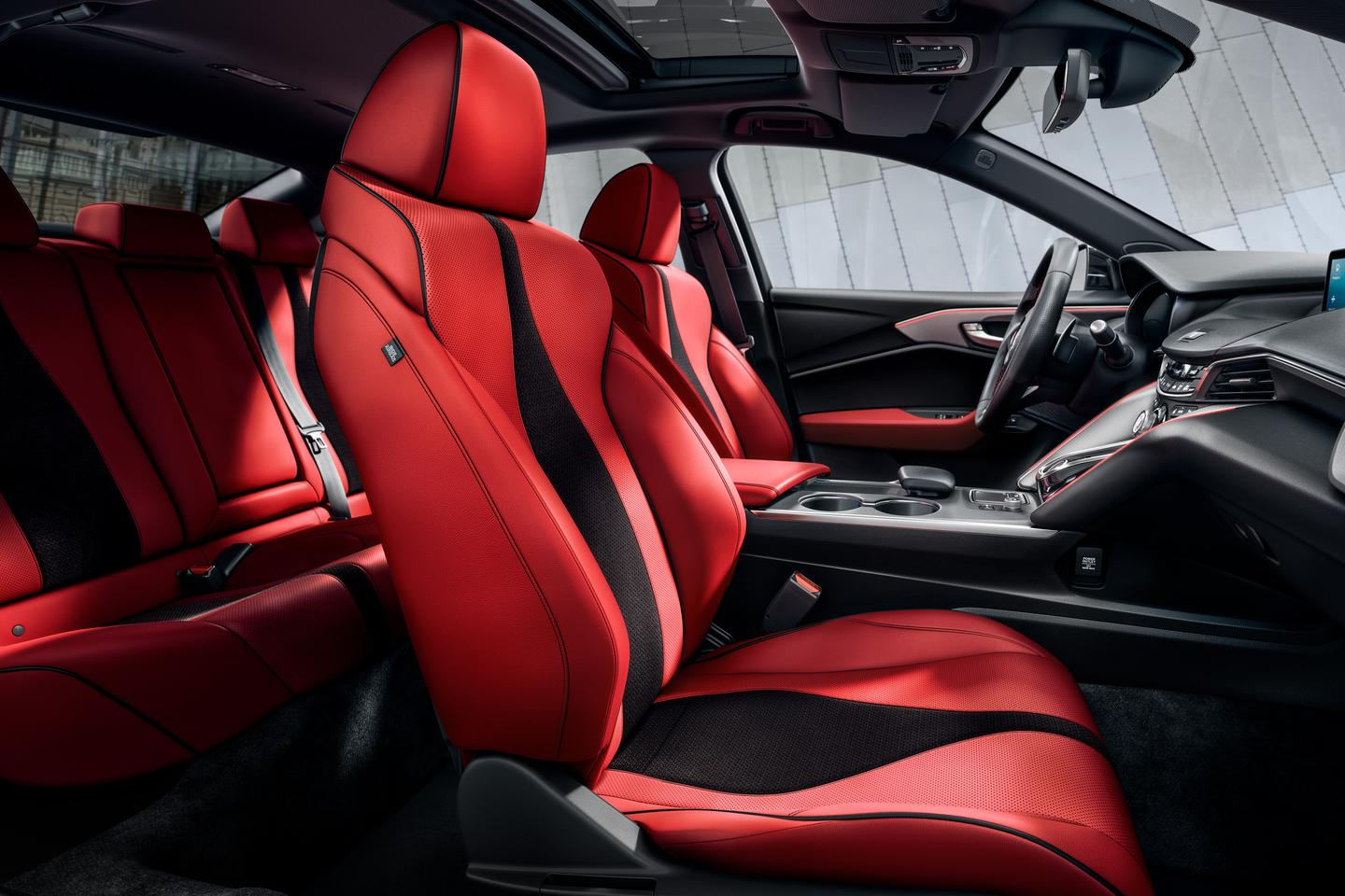 The new TLX gets 16-way adjustable sport seats up front