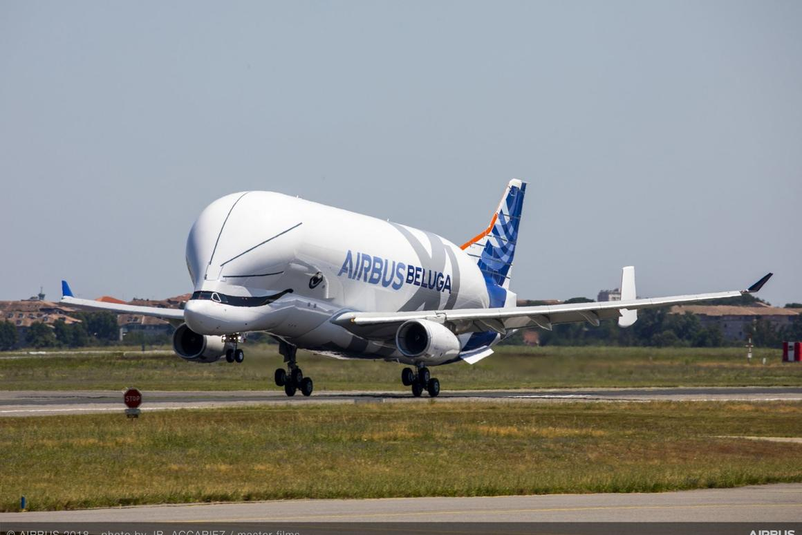 The Beluga XL coming in for a landing after its maiden flight