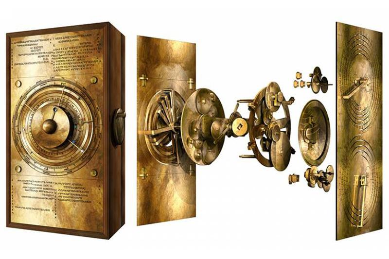 Exploded model of the Cosmos gearing of the Antikythera Mechanism