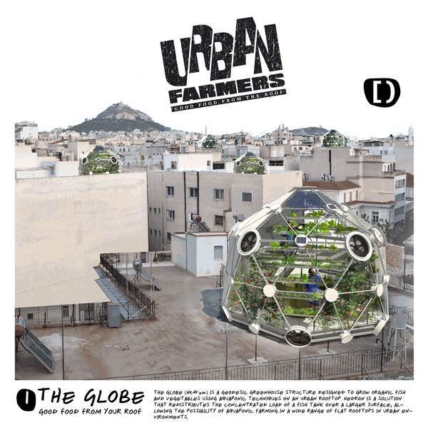 "It may look nothing more than an oddly shaped greenhouse, but the ""Globe (hedron)"" is a concept for a rooftop aquaponics dome that Urban Farmers hopes will help address global food security"