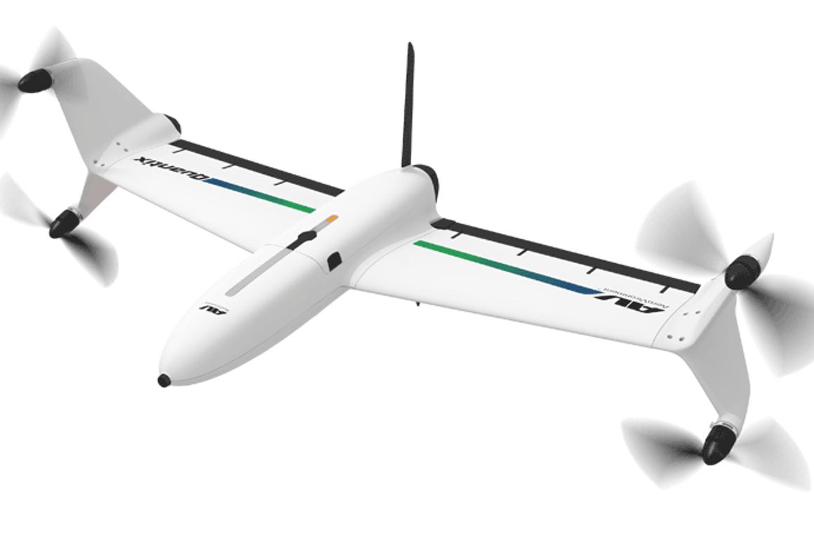 The Quantix drone, in forward-facing horizontal flight mode