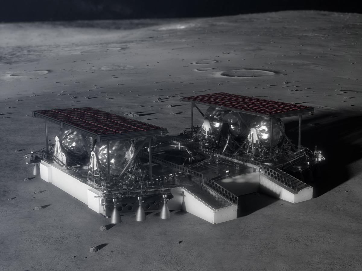 Illustration depicting the mid-sized lander on the lunar surface