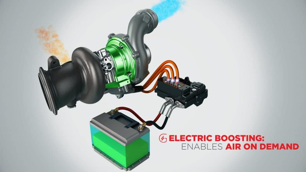 The Garrett E-Turbo system works in both directions, allowing a downspooling turbocharger to send power back to the battery