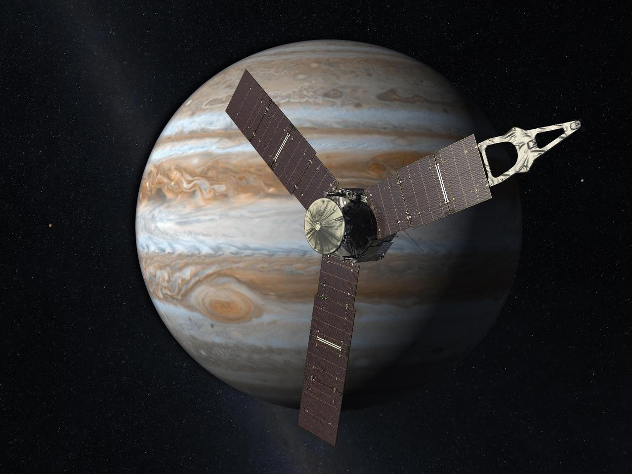 Artist's impression ofJuno arriving at Jupiter