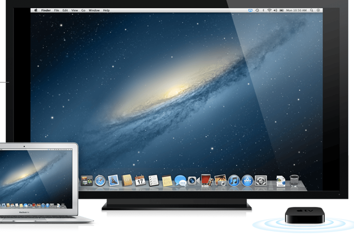 AirPlay Mirroring lets your MacBook interact with an HDTV-served audience