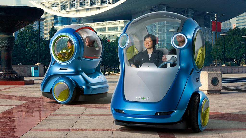 GM's EN-V is a concept two-wheeled vehicle for personal transportation in the cities of the future - Xiao (Laugh) model design pictured